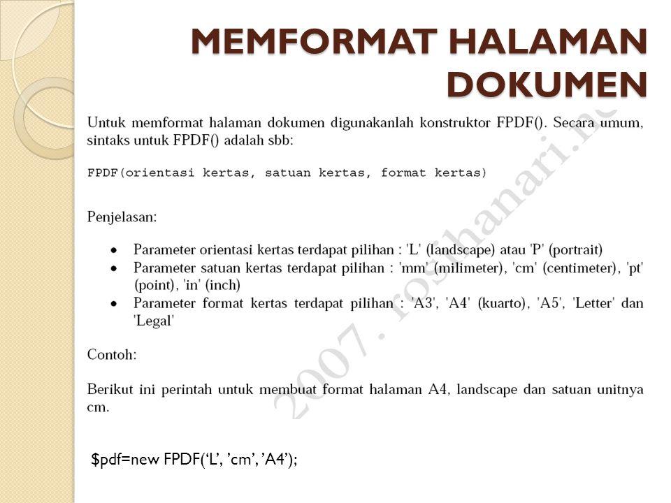 MEMFORMAT HALAMAN DOKUMEN $pdf=new FPDF('L', 'cm', 'A4');