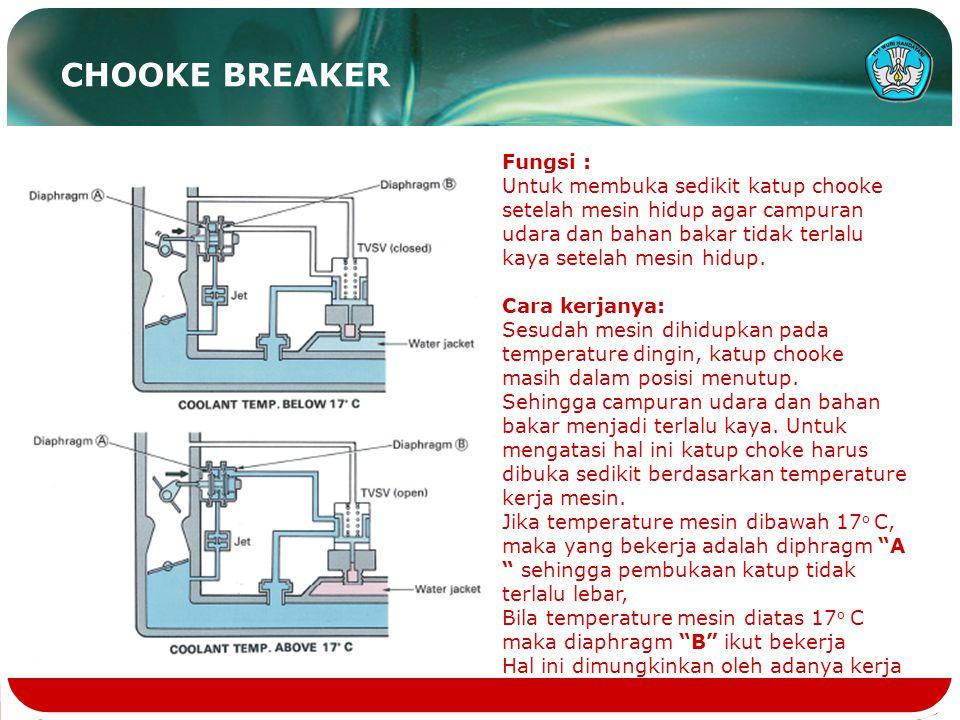 CHOOKE BREAKER Fungsi : Untuk membuka sedikit katup chooke setelah mesin hidup agar campuran udara dan bahan bakar tidak terlalu kaya setelah mesin hidup.