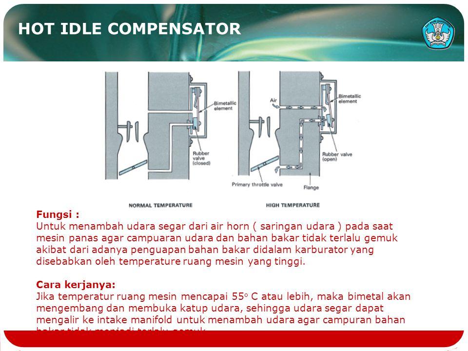 HOT IDLE COMPENSATOR Fungsi : Untuk menambah udara segar dari air horn ( saringan udara ) pada saat mesin panas agar campuaran udara dan bahan bakar tidak terlalu gemuk akibat dari adanya penguapan bahan bakar didalam karburator yang disebabkan oleh temperature ruang mesin yang tinggi.