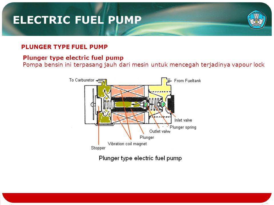 ELECTRIC FUEL PUMP Plunger type electric fuel pump Pompa bensin ini terpasang jauh dari mesin untuk mencegah terjadinya vapour lock PLUNGER TYPE FUEL PUMP