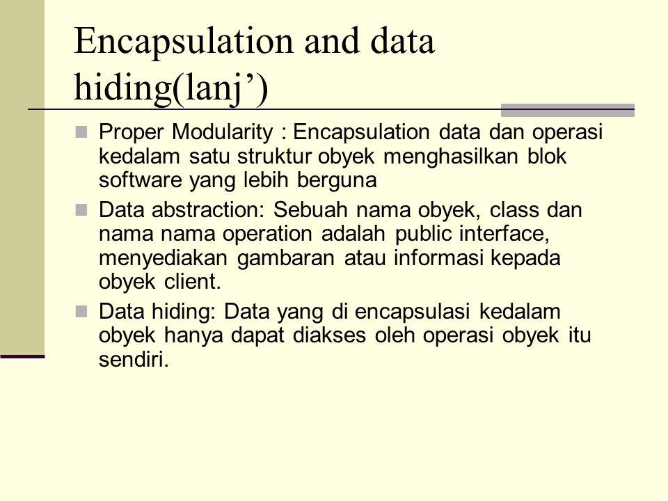 Encapsulation and data hiding(lanj') Proper Modularity : Encapsulation data dan operasi kedalam satu struktur obyek menghasilkan blok software yang le