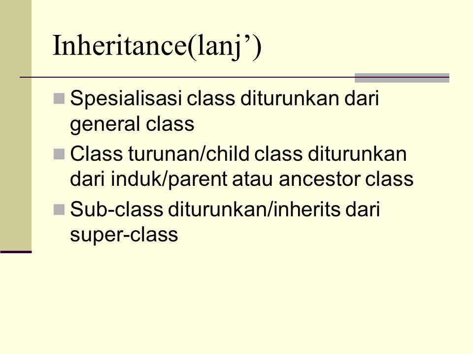 Inheritance(lanj') Spesialisasi class diturunkan dari general class Class turunan/child class diturunkan dari induk/parent atau ancestor class Sub-cla