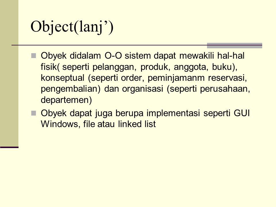 Object(lanj') Obyek didalam O-O sistem dapat mewakili hal-hal fisik( seperti pelanggan, produk, anggota, buku), konseptual (seperti order, peminjamanm