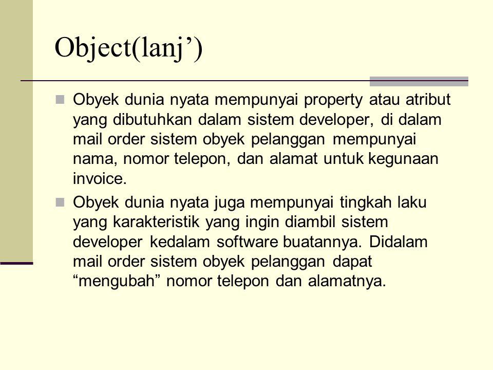 Object(lanj') Jemima adalah nama obyek tersebut Car adalah class dari obyek tersebut Operasi tidak dimasukkan didalam diagram obyek, tetapi didalam diagram class operation harus dicantumkan Model Obyek memudahkan untuk mengerti tentang problem domain.