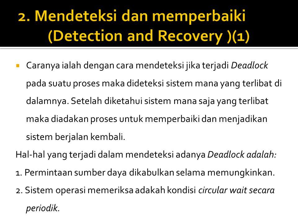  Caranya ialah dengan cara mendeteksi jika terjadi Deadlock pada suatu proses maka dideteksi sistem mana yang terlibat di dalamnya. Setelah diketahui
