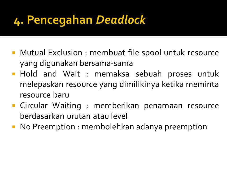  Mutual Exclusion : membuat file spool untuk resource yang digunakan bersama-sama  Hold and Wait : memaksa sebuah proses untuk melepaskan resource y