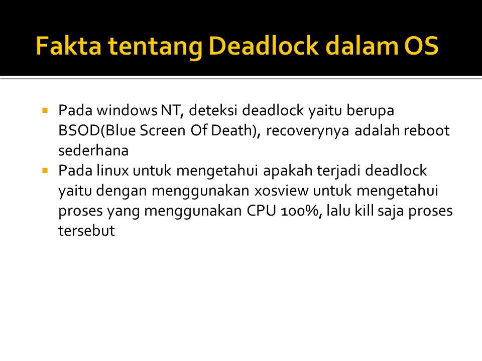  Pada windows NT, deteksi deadlock yaitu berupa BSOD(Blue Screen Of Death), recoverynya adalah reboot sederhana  Pada linux untuk mengetahui apakah