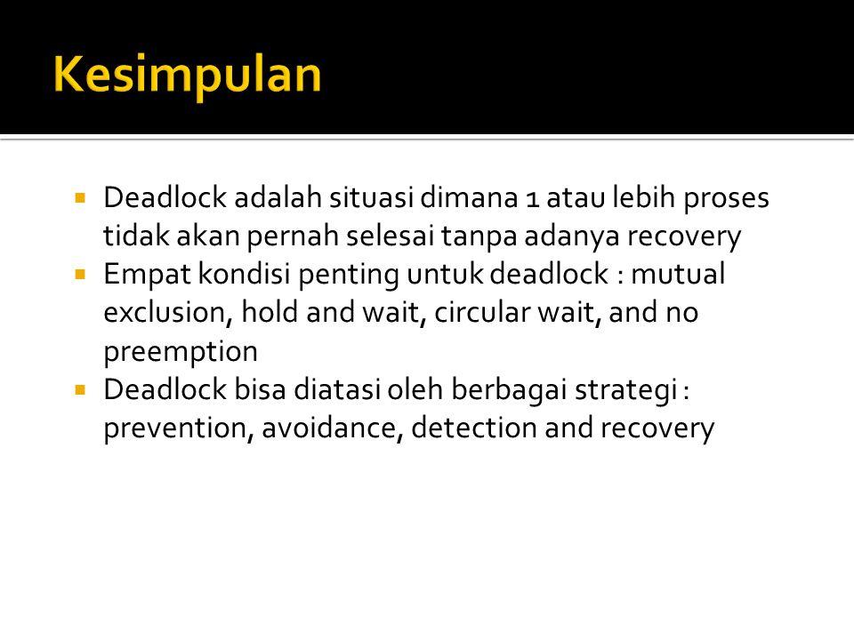  Deadlock adalah situasi dimana 1 atau lebih proses tidak akan pernah selesai tanpa adanya recovery  Empat kondisi penting untuk deadlock : mutual e
