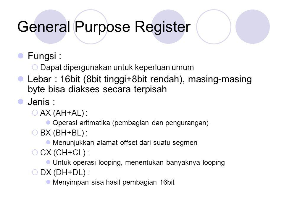 General Purpose Register Fungsi :  Dapat dipergunakan untuk keperluan umum Lebar : 16bit (8bit tinggi+8bit rendah), masing-masing byte bisa diakses s