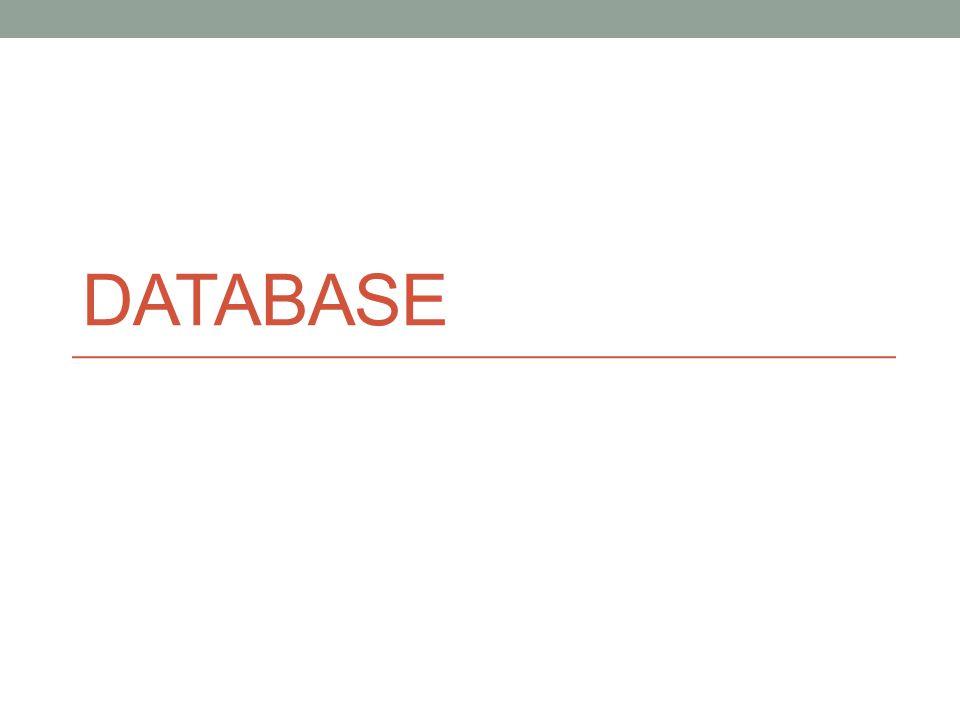 Contoh pemakaian aplikasi database : Transaksi pembelian dari Mall/Supermarket Transaksi pembelian atas pemakaian kartu kredit Tempat penampungan data pesanan bagi agen travel Mengolah data asuransi Penggunaan Internet Pelajaran di Kampus