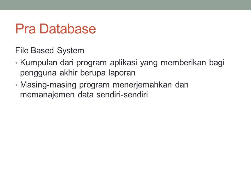 Pra Database File Based System Kumpulan dari program aplikasi yang memberikan bagi pengguna akhir berupa laporan Masing-masing program menerjemahkan d