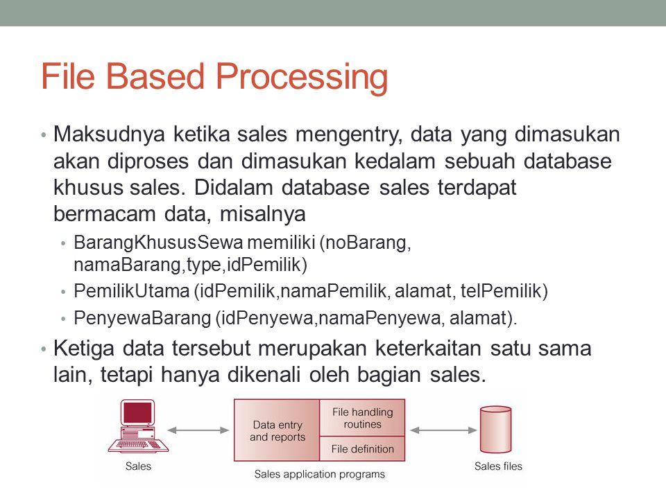 File Based Processing Maksudnya ketika sales mengentry, data yang dimasukan akan diproses dan dimasukan kedalam sebuah database khusus sales. Didalam