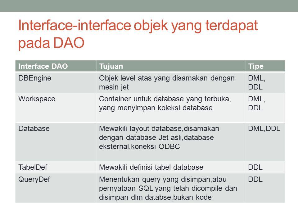 Interface-interface objek yang terdapat pada DAO Interface DAOTujuanTipe DBEngineObjek level atas yang disamakan dengan mesin jet DML, DDL WorkspaceCo