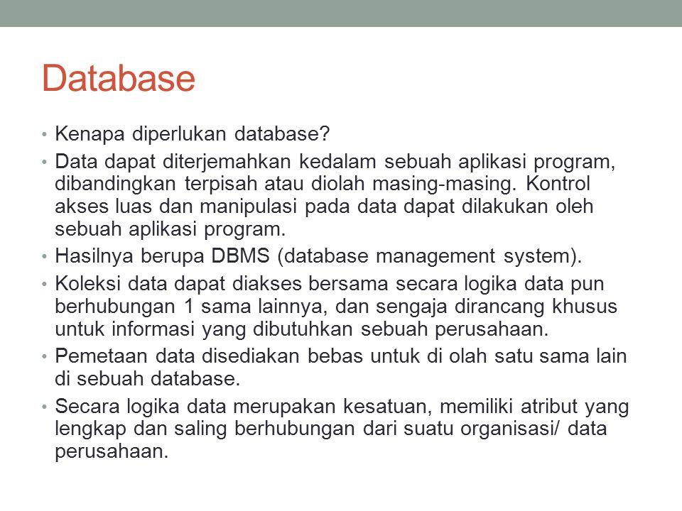 Database Management System (DBMS) Suatu sistem perangkat lunak untuk mendeskripsikan/ memperlihatkan, membuat, memelihara database dan memberikan control siapa saja yang dapat mengakses database tersebut.