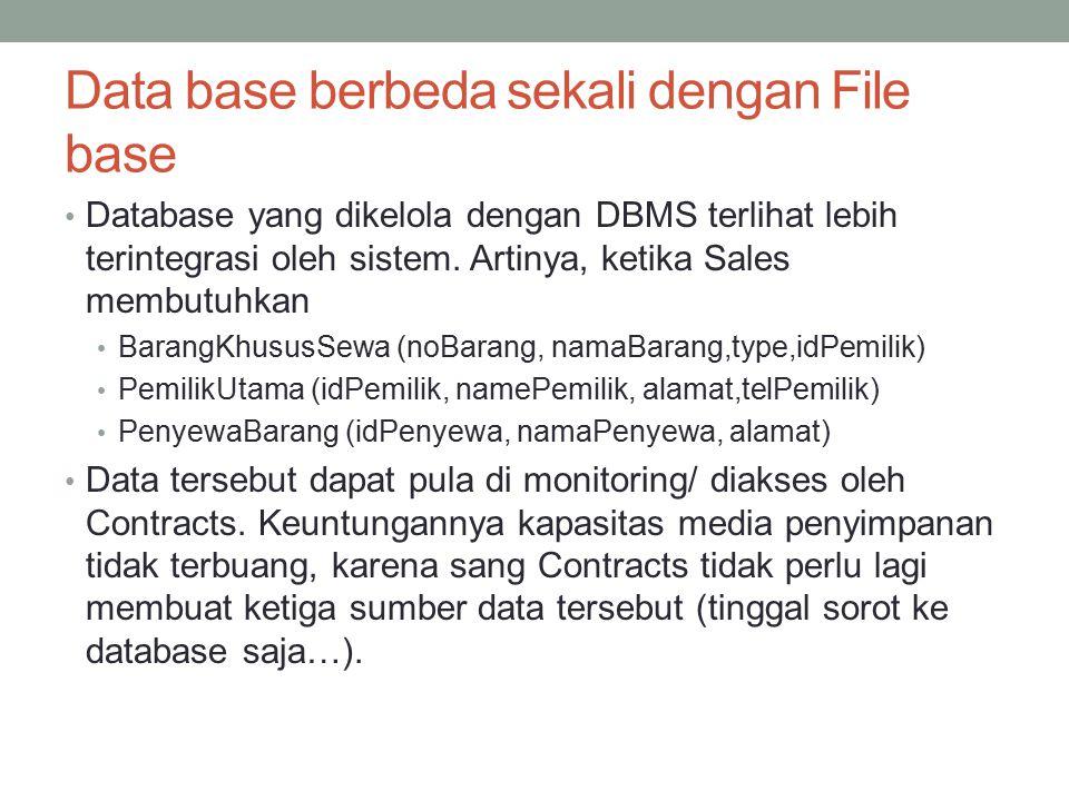 Data base berbeda sekali dengan File base Database yang dikelola dengan DBMS terlihat lebih terintegrasi oleh sistem. Artinya, ketika Sales membutuhka