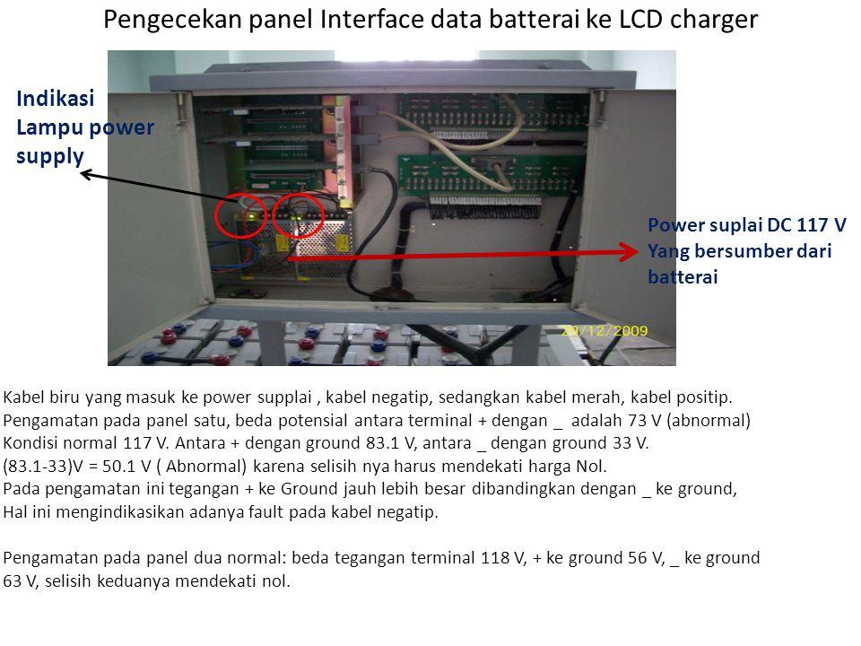 Pengecekan sambungan penghantar negatip pada batterai Kabel merah (terminal + ke power Supplai panel interface) Kabel biru ( terminal _ ke power Supplai panel interface) Yang menyebabkan alarm pada ML grounded bersumber dari kabel biru (kabel negatif)