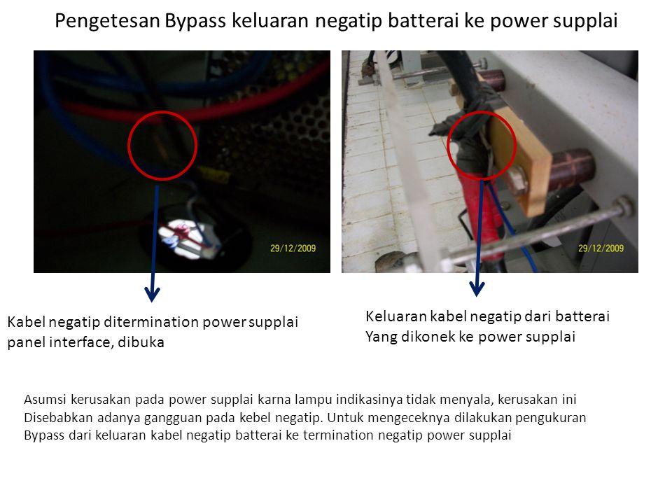 Element yang di bypass Terminasi batterai dibypass ke terminasi negatip power supplai panel interface