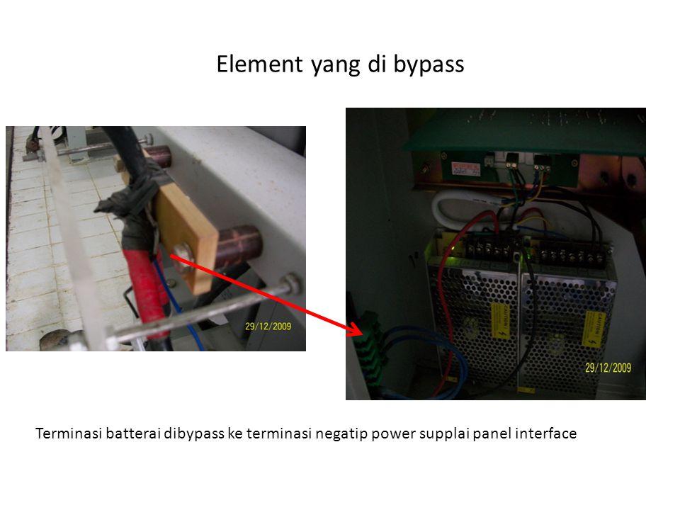 Hasil pengukuran bypass menunjukkan: beda potensial antara kabel negatip bypass dengan Kabel positip 117 V, kabel negatip bypass dengan ground 61 V, kabel positip dengan ground 56 V.