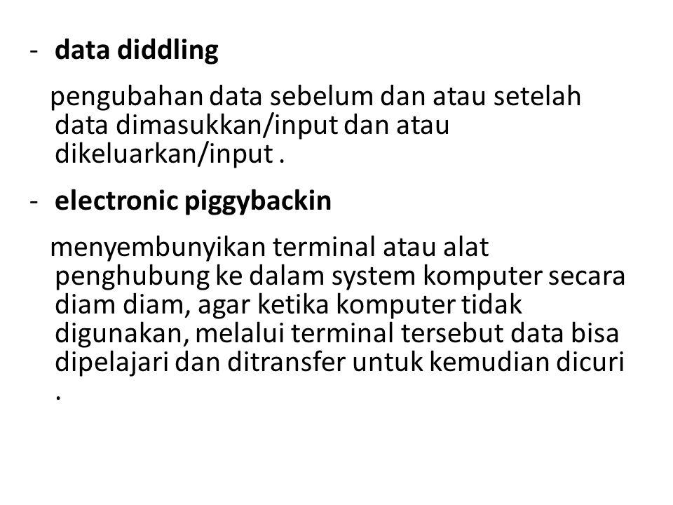 -data diddling pengubahan data sebelum dan atau setelah data dimasukkan/input dan atau dikeluarkan/input. -electronic piggybackin menyembunyikan termi