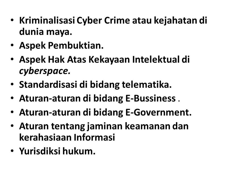 Kriminalisasi Cyber Crime atau kejahatan di dunia maya. Aspek Pembuktian. Aspek Hak Atas Kekayaan Intelektual di cyberspace. Standardisasi di bidang t