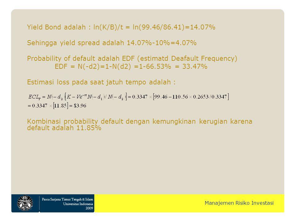 Pasca Sarjana Timur Tengah & Islam Universitas Indonesia 2009 Manajemen Risiko Investasi Yield Bond adalah : ln(K/B)/t = ln(99.46/86.41)=14.07% Sehingga yield spread adalah 14.07%-10%=4.07% Probability of default adalah EDF (estimatd Deafault Frequency) EDF = N(-d2)=1-N(d2) =1-66.53% = 33.47% Estimasi loss pada saat jatuh tempo adalah : Kombinasi probability default dengan kemungkinan kerugian karena default adalah 11.85%