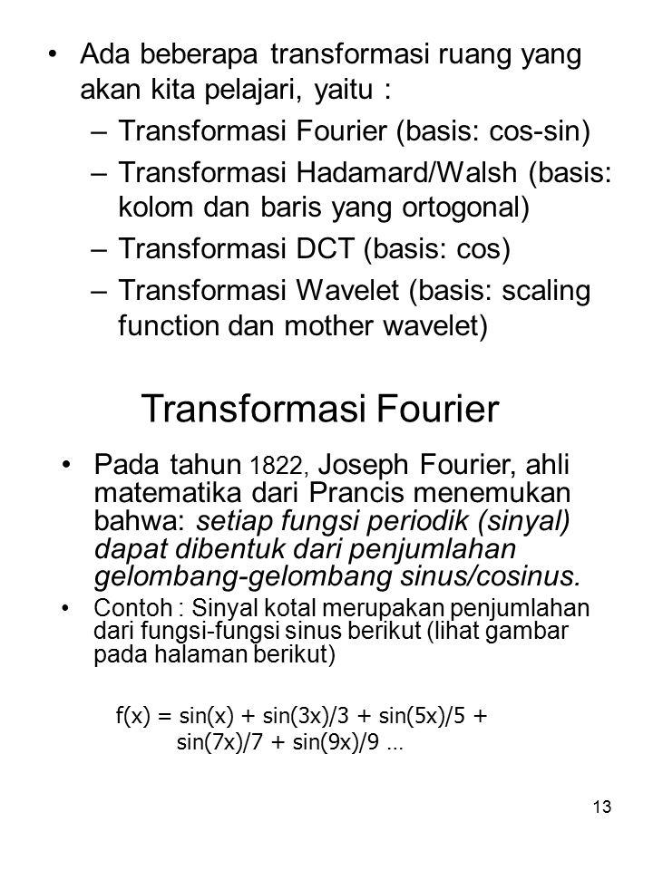 14 Hasil dalam transformasi fourier Cobakan juga program matlab berikut untuk melihat sampai batas n berapa fungsi yang dihasilkan sudah berbentuk fungsi kotak.
