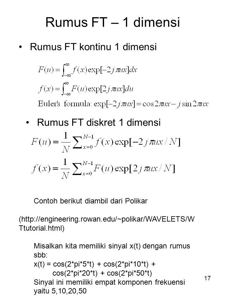 18 Contoh FT 1 dimensi Contoh berikut diambil dari Polikar (http://engineering.rowan.edu/~polikar/WAVELETS/ WTtutorial.html) Misalkan kita memiliki sinyal x(t) dengan rumus sbb: x(t) = cos(2*pi*5*t) + cos(2*pi*10*t) + cos(2*pi*20*t) + cos(2*pi*50*t) Sinyal ini memiliki empat komponen frekuensi yaitu 5,10,20,50