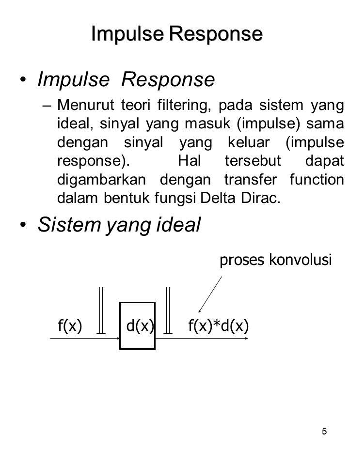 6 POINT SPREAD FUNCTION (PSF) (FUNGSI SEBARAN TITIK) Sistem yang tidak ideal –Pada sistem yang tidak ideal, sinyal yang masuk mengalami degradasi atau penurunan kwalitas.