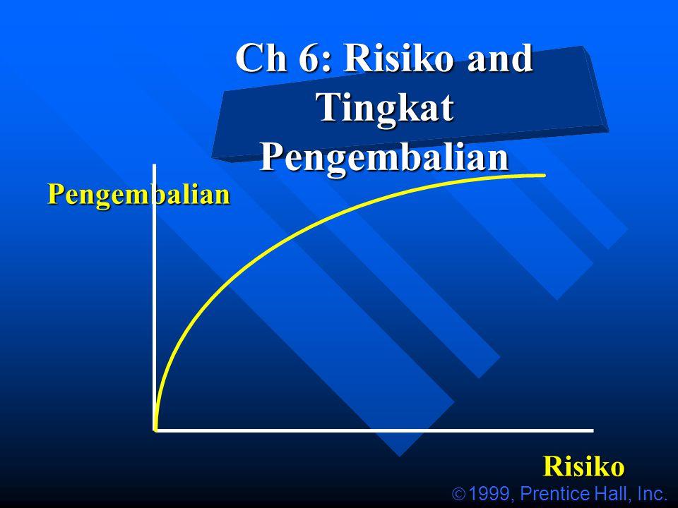 Ch 6: Risiko and Tingkat Pengembalian Pengembalian Risiko  1999, Prentice Hall, Inc.