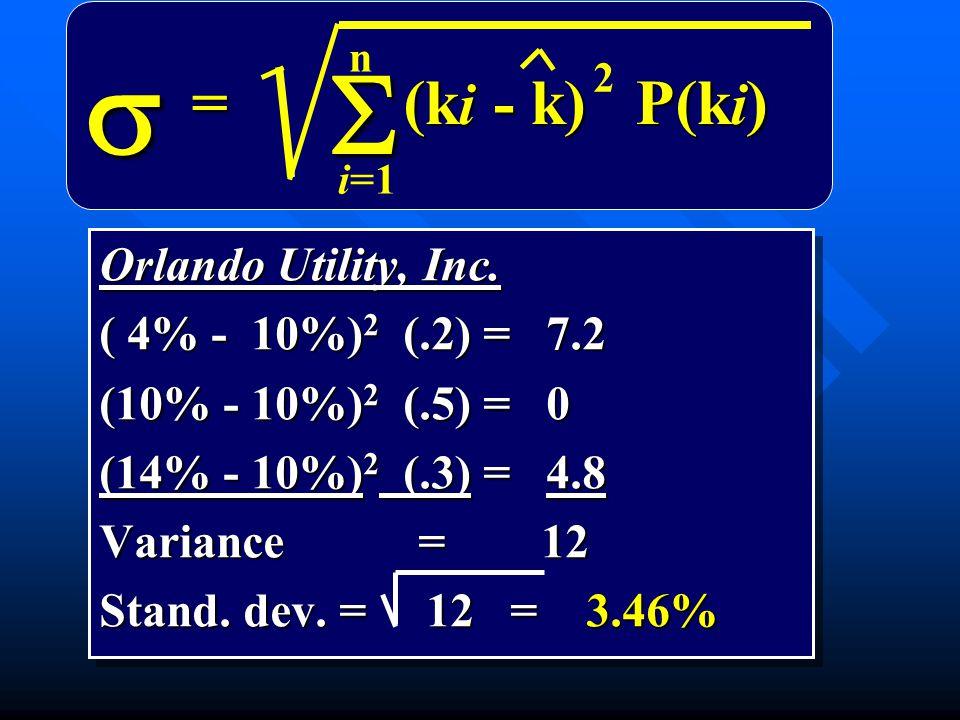 Orlando Utility, Inc. ( 4% - 10%) 2 (.2) = 7.2 (10% - 10%) 2 (.5) = 0 (14% - 10%) 2 (.3) = 4.8 Variance = 12 Stand. dev. = 12 = 3.46% Orlando Utility,