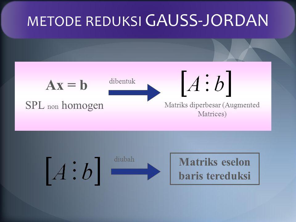 Ax = b Matriks diperbesar (Augmented Matrices) SPL dibentuk Matriks eselon baris tereduksi diubah Matriks Diperbesar