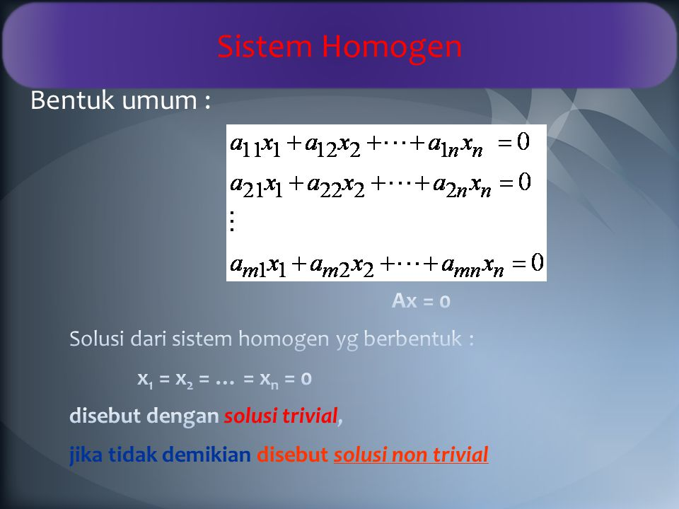 Carilah solusi dari SPL berikut : 1.x + 2y + 3z = 9 2x – y + z = 8 3x – z = 3 2.