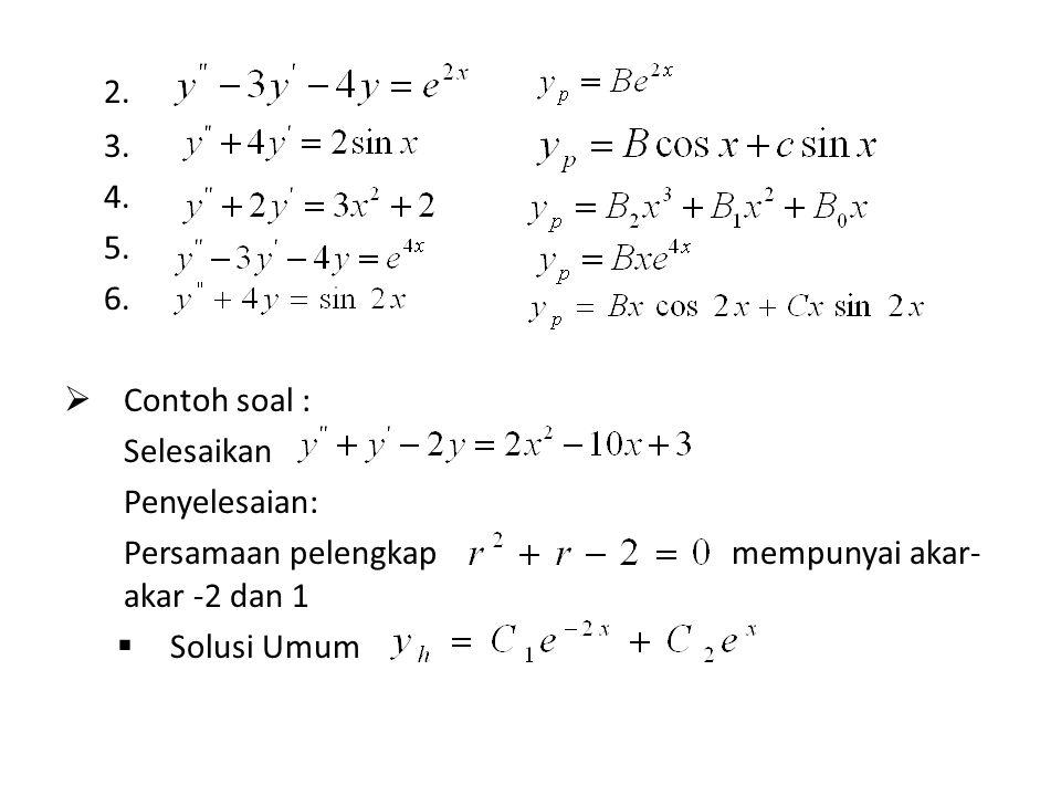 2. 3. 4. 5. 6.  Contoh soal : Selesaikan Penyelesaian: Persamaan pelengkap mempunyai akar- akar -2 dan 1  Solusi Umum