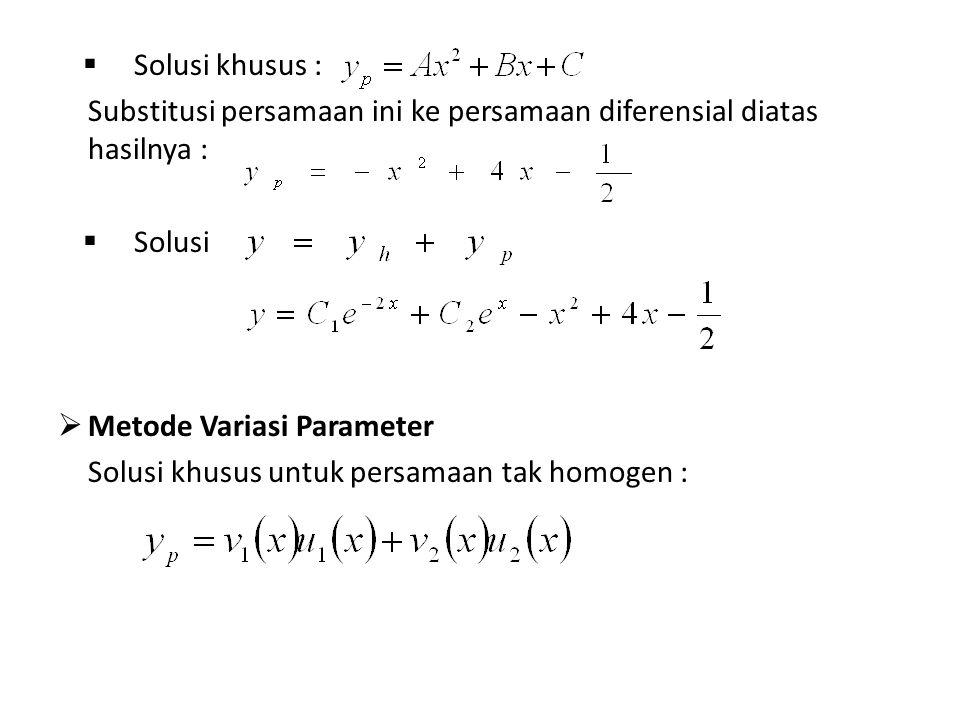  Solusi khusus : Substitusi persamaan ini ke persamaan diferensial diatas hasilnya :  Solusi  Metode Variasi Parameter Solusi khusus untuk persamaan tak homogen :