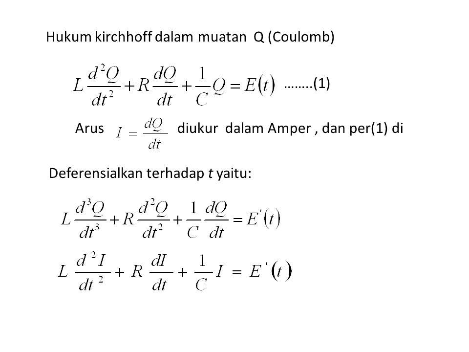 Hukum kirchhoff dalam muatan Q (Coulomb) ……..(1) Arus diukur dalam Amper, dan per(1) di Deferensialkan terhadap t yaitu: