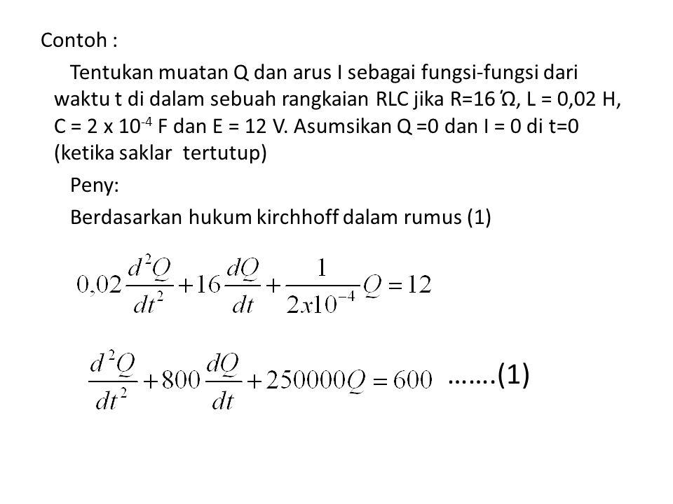 Contoh : Tentukan muatan Q dan arus I sebagai fungsi-fungsi dari waktu t di dalam sebuah rangkaian RLC jika R=16 Ώ, L = 0,02 H, C = 2 x 10 -4 F dan E = 12 V.