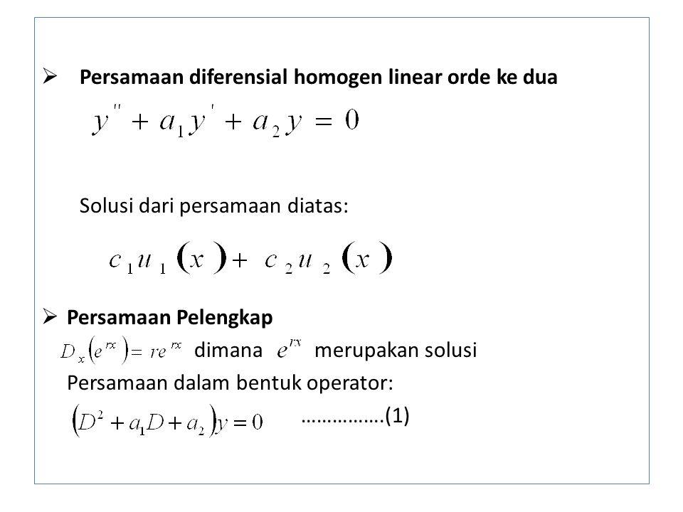  Persamaan diferensial homogen linear orde ke dua Solusi dari persamaan diatas:  Persamaan Pelengkap dimana merupakan solusi Persamaan dalam bentuk operator: …………….(1)