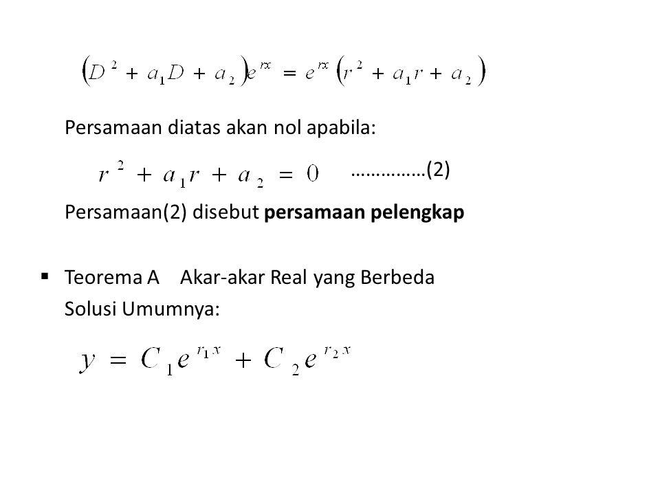 Persamaan diatas akan nol apabila: ……………(2) Persamaan(2) disebut persamaan pelengkap  Teorema A Akar-akar Real yang Berbeda Solusi Umumnya: