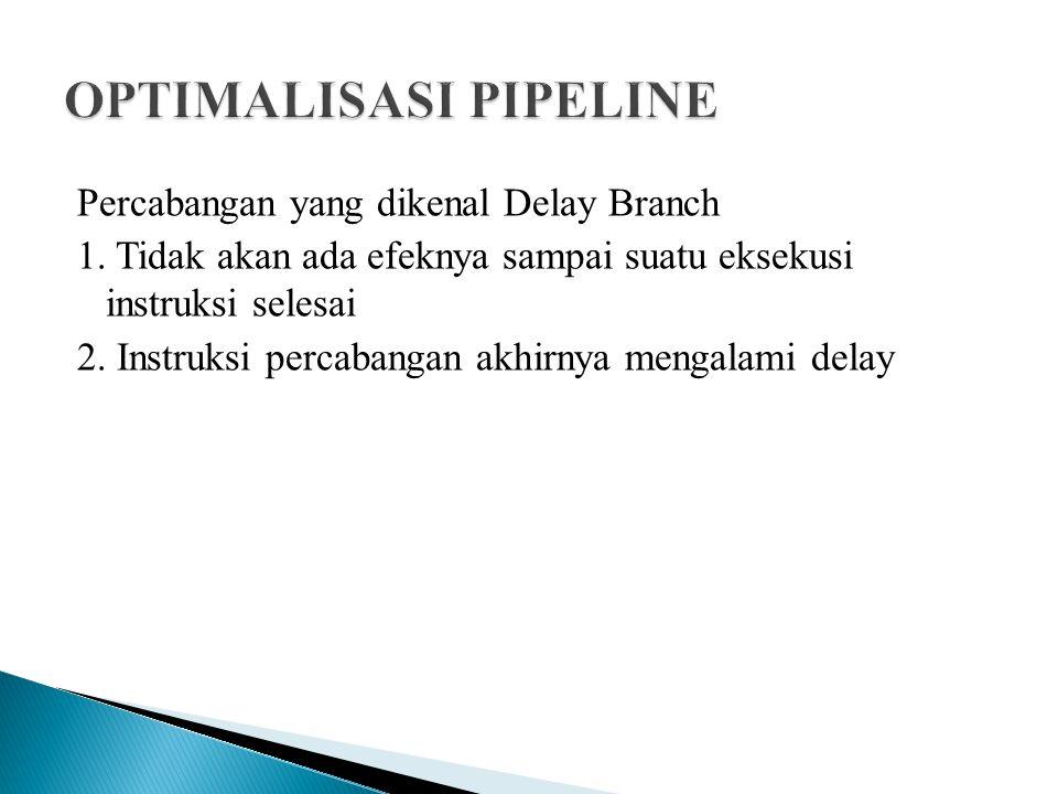 Percabangan yang dikenal Delay Branch 1. Tidak akan ada efeknya sampai suatu eksekusi instruksi selesai 2. Instruksi percabangan akhirnya mengalami de