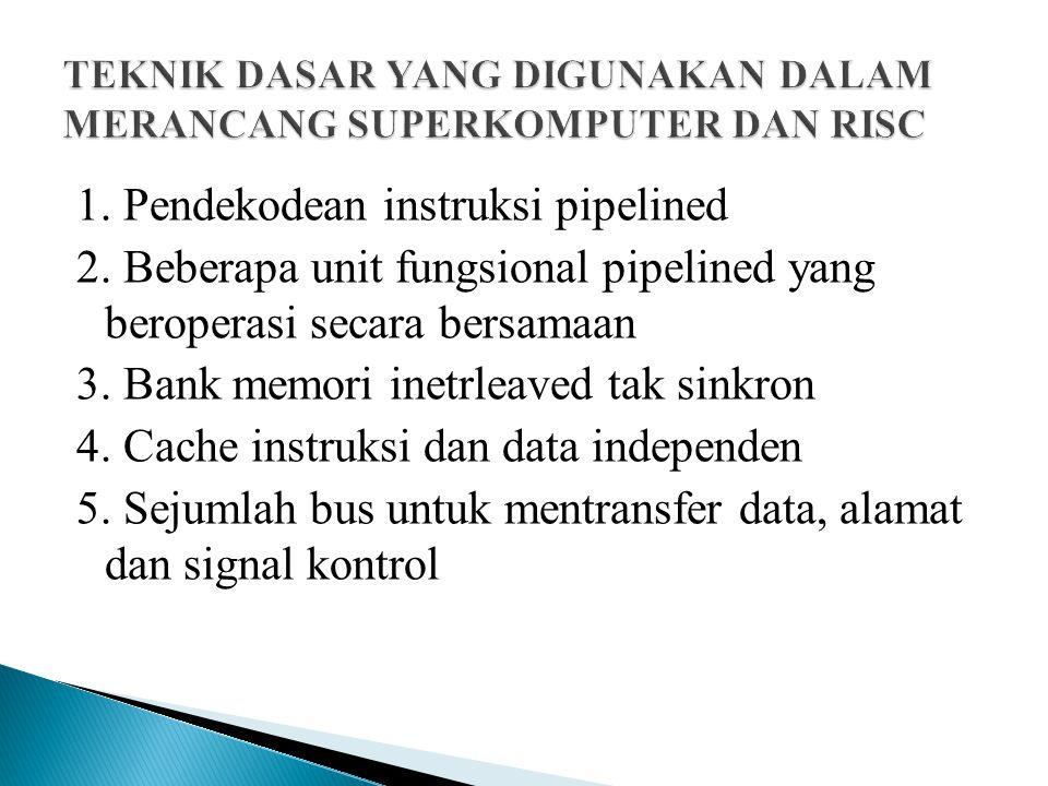 1. Pendekodean instruksi pipelined 2. Beberapa unit fungsional pipelined yang beroperasi secara bersamaan 3. Bank memori inetrleaved tak sinkron 4. Ca