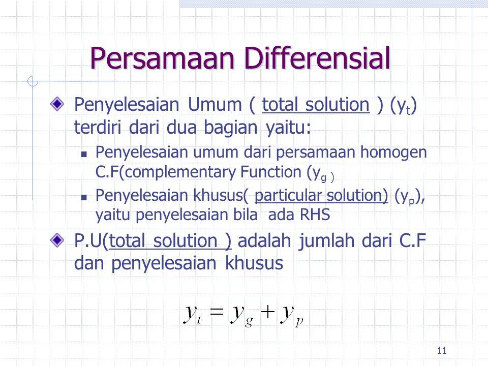 11 Persamaan Differensial Penyelesaian Umum ( total solution ) (y t ) terdiri dari dua bagian yaitu: Penyelesaian umum dari persamaan homogen C.F(complementary Function (y g ) Penyelesaian khusus( particular solution) (y p ), yaitu penyelesaian bila ada RHS P.U(total solution ) adalah jumlah dari C.F dan penyelesaian khusus