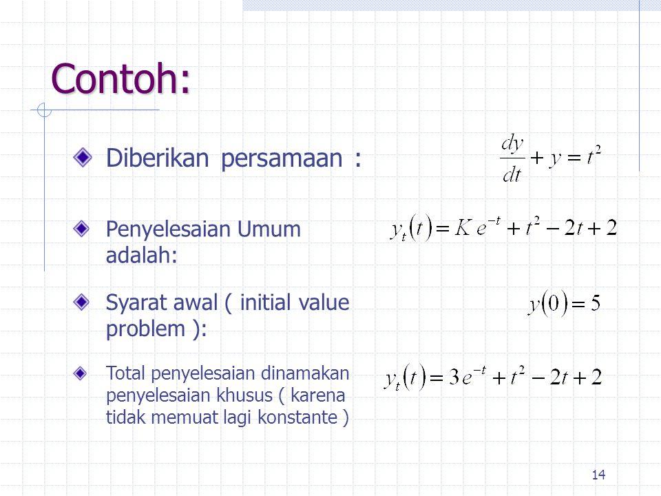 14 Contoh: Diberikan persamaan : Syarat awal ( initial value problem ): Penyelesaian Umum adalah: Total penyelesaian dinamakan penyelesaian khusus ( karena tidak memuat lagi konstante )