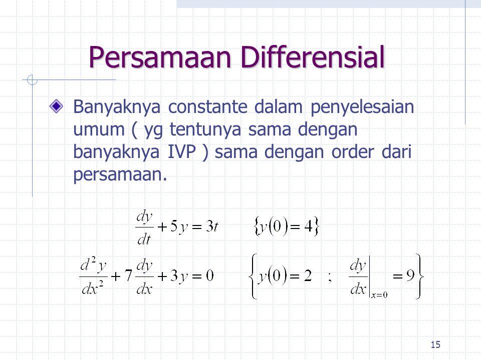 15 Persamaan Differensial Banyaknya constante dalam penyelesaian umum ( yg tentunya sama dengan banyaknya IVP ) sama dengan order dari persamaan.