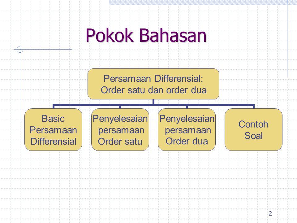 2 Pokok Bahasan Persamaan Differensial: Order satu dan order dua Basic Persamaan Differensial Penyelesaian persamaan Order satu Penyelesaian persamaan Order dua Contoh Soal