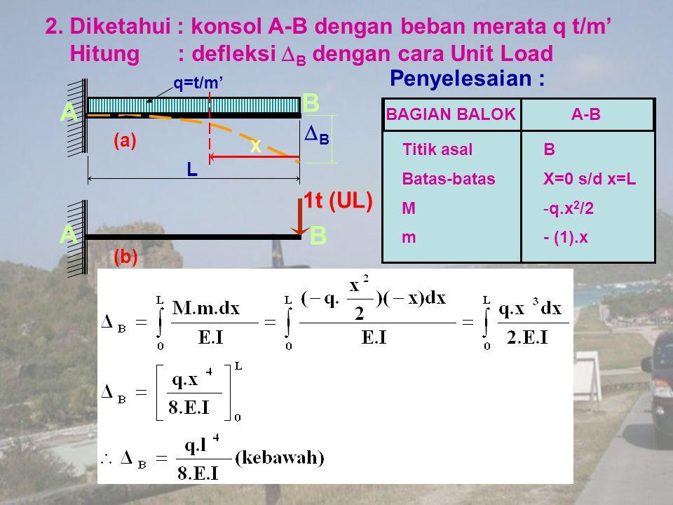 2. Diketahui : konsol A-B dengan beban merata q t/m' Hitung : defleksi  B dengan cara Unit Load 1t (UL) (b) A B BB X L (a) A B q=t/m' Penyelesaian