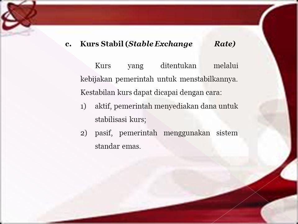 c. Kurs Stabil (Stable Exchange Rate) Kurs yang ditentukan melalui kebijakan pemerintah untuk menstabilkannya. Kestabilan kurs dapat dicapai dengan ca