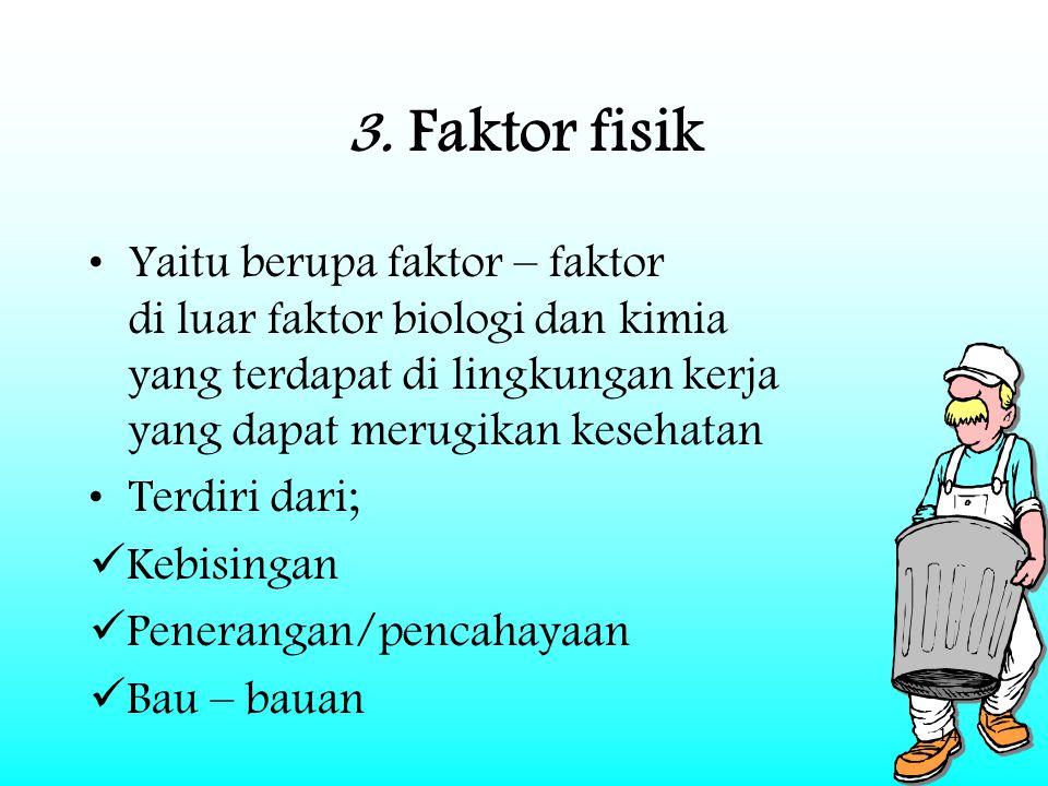 14 3. Faktor fisik Yaitu berupa faktor – faktor di luar faktor biologi dan kimia yang terdapat di lingkungan kerja yang dapat merugikan kesehatan Terd