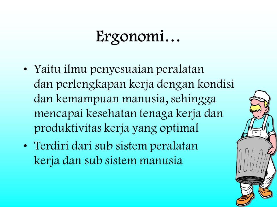 25 Ergonomi… Yaitu ilmu penyesuaian peralatan dan perlengkapan kerja dengan kondisi dan kemampuan manusia, sehingga mencapai kesehatan tenaga kerja da