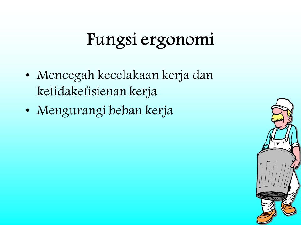 26 Fungsi ergonomi Mencegah kecelakaan kerja dan ketidakefisienan kerja Mengurangi beban kerja