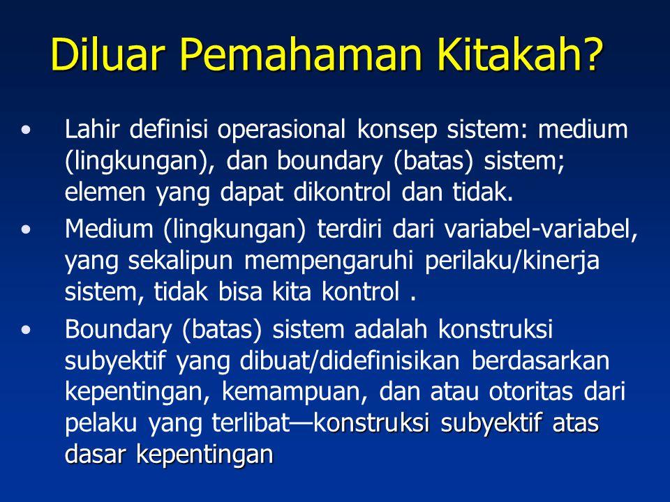 Diluar Pemahaman Kitakah? Lahir definisi operasional konsep sistem: medium (lingkungan), dan boundary (batas) sistem; elemen yang dapat dikontrol dan